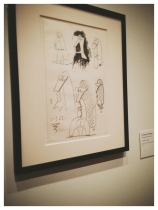 Installation view of last gallery of Picasso and Chicago, showing sketches from early 1960s of what would become the Chicago commission.