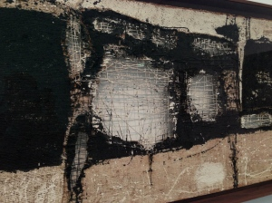 Manolo Millares, Composition 9, 1957, whiting and lampblack on burlap and string