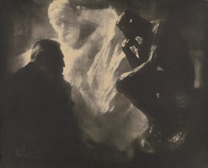 Edward Steichen, Rodin—The Thinker, 1902, Gum bichromate print 15 9/16 x 19 in., Gilman Collection, Metropolitan Museum of Art, New York