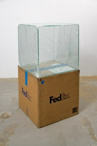 Walead Beshty, Fedex® Large Kraft Box ..., 2008-, laminated safety glass, silicone, metal, FedEx shipping box, packing tape, and accrued FedEx tracking labels, 20 x 20 x 20 inches