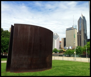 Richard Serra, Reading Cones, 1988, Cor-Ten Steel, City of Chicago. Photo taken by author, 2013