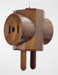 Claes Oldenburg, Giant Three-Way Plug, Mahogony veneer over wood, 58 1/2 x 38 3/4 x 29 1/2 in 148.5 x 98.5 x 75 cm, Detroit Institute of Arts