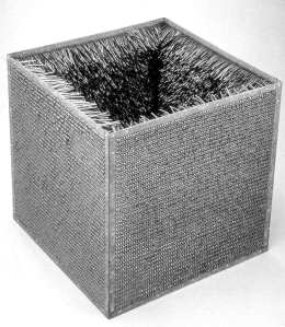 Eva Hesse, Accession II, 1968, galvanized steel and vinyl, 30 3/4 x 30 3/4 x 30 3/4 in. 78.1 x 78.1 x 78.1 cm, Detroit Institute of Arts