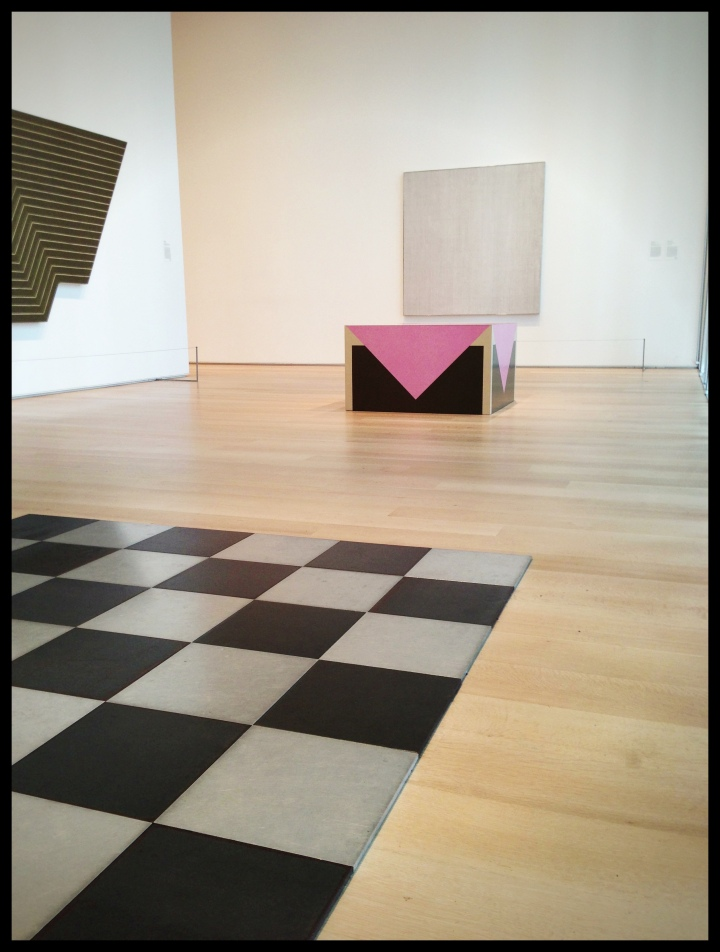 Installation of Gallery 297b at the Art Institute of Chicago with works by Richard Artschwager, Carl Andre, Agnes Martin, and Frank Stella in view. Photo by the author, August 2013