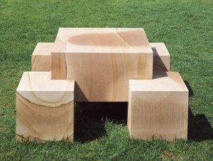 Scott Burton, Seat-Leg Table, 1986/1991, sandstone, overall 28.5 × 56 × 56 inches, Walker Art Center, Minneapolis