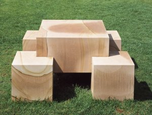 Scott Burton, Seat-Leg Table, 1986/1991, sandstone, overall 28.5 × 56 × 56 inches, Walker Art Center, Minneapolis