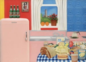Tom Wesselmann, Still Life #30, 1963, Oil, enamel and synthetic polymer paint on composition board with collage of printed advertisements, plastic flowers, refrigerator door, plastic replicas of 7-Up bottles, glazed and framed color reproduction, and stamped metal. Museum of Modern Art, New York