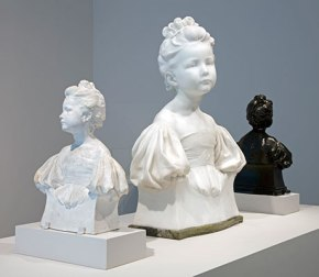 Installation view, showing (left to right): Alfred Drury  'The Age of Innocence' c.1897-1900, Plaster; 1901, Marble;  1906, Bronze. Courtesy Bradford Museums, Leeds Museums and Galleries (Art Gallery), Harris Museum and Art Gallery. Photo: Jerry Hardman-Jones.
