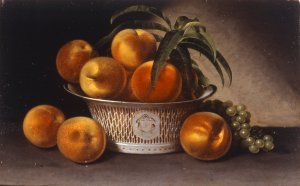 Raphaelle Peale, Still Life with Peaches, 1821, oil on panel, 12 13/16 x 19 5/16 in. (32.5 x 49 cm), Brooklyn Museum of Art