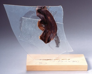 Dieter Roth, Banana, 1966 - 1991. Banana peel on broken pieces of glass on wooden base · 24 x 22 x 9.5 cm · edition of 5. Dieter Roth Foundation