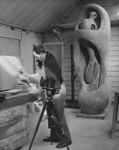 "1953 Moore with his sculpture in Perry Green Phot: Chris Ware Keystone Press The Henry Moore Foundation Archive 4 x 5"" b/w neg"